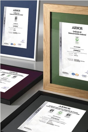 Several AENOR certificates on display