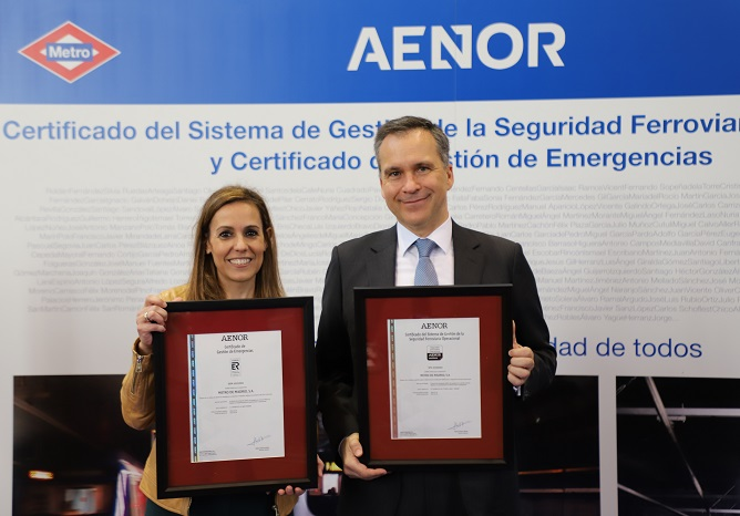 AENOR certifies the Madrid Metro for its Operational Railway Safety Management Systems and Emergency Management Systems