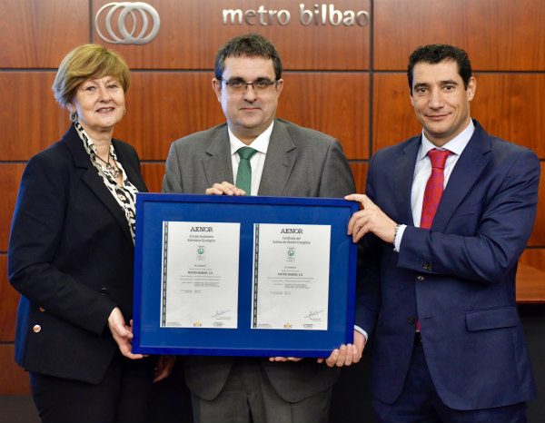 Metro Bilbao awarded AENOR Energy Management Certificate ISO 50001
